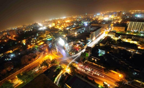 A night view of Karachi from the roof of the Avari Towers. Photo: Tapu Javeri, submitted to Guardian Witness.